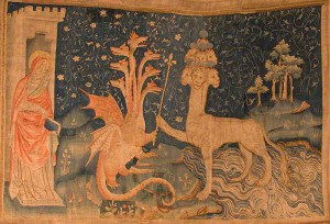 La Bête de la Mer (from the Tapisserie de l'Apocalypse in Angers, France). A medieval tapestry, this detail of which shows the False Prophet, the Dragon, and the Beast of the Sea.